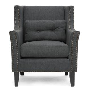 Seating - Albany Dark Gray Linen Modern Lounge Chair | Overstock.com - modern gray lounge chair, gray lounge chair, gray lounge chair with nailhead trim,