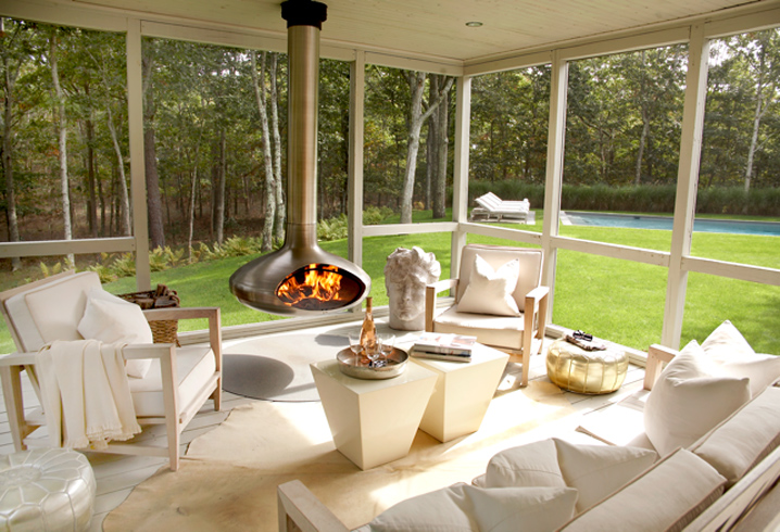 Screened porch with fireplace contemporary deck patio for Modern screened porch