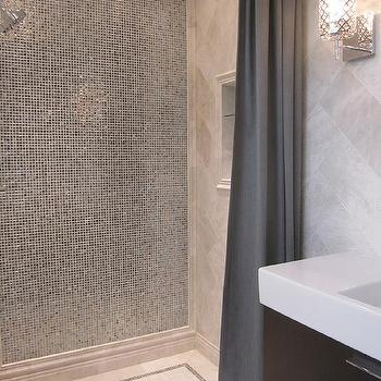 Glass Tile Shower, Transitional, bathroom