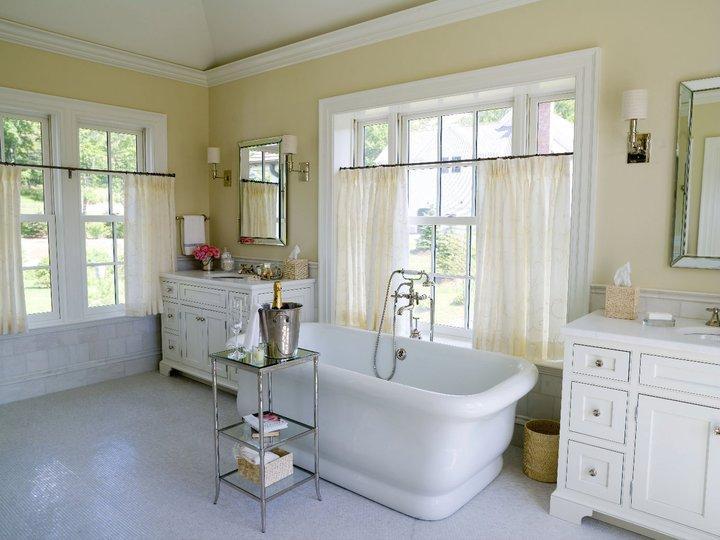 Tub in front of window traditional bathroom alisberg - Bathrooms with yellow walls ...
