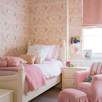 Traditional Home - girl's rooms - pink girls room, pink girls bedroom, monkey business wallpaper, pink monkey wallpaper, girls wallpaper, cream twin bed, french twin bed, girls beds, cream girls bed, wood beds, cream wood bed, pink damask bedding, girls bedding, pink sheets, girls sheets, girls pink sheets, pink quilts, girls pink quilts, girls nightstands, cream nightstands, pink glider, polka dot glider, pink polka dot glider, ottoman, pink ottoman, pink polka dot ottoman, ruffled ottoman, pink ruffled ottoman, pink roman shade, Monkey Business Wallpaper,