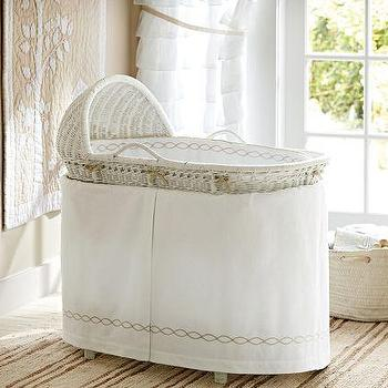 Bedding - Monterey Bassinet Bedding | Pottery Barn Kids - bassinet bedding, white bassinet bedding, white cotton bassinet bedding,