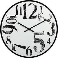 Art/Wall Decor - stamped numbers clock | CB2 - modern wall clock, modern black and white wall clock, modern oversized wall clock,