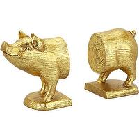 Decor/Accessories - gold pig bookends set of 2 | CB2 - gold pig bookends, pig bookends, gold piggy bookends,