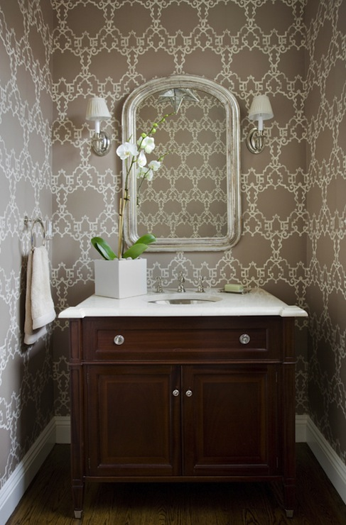 Chic Powder Room Transitional Bathroom Kate Coughlin