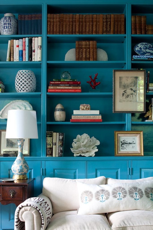 Turquoise Built Ins Eclectic Den Library Office Kate