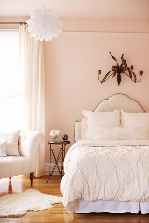 White And Pink Bedroom Transitional Bedroom Crystal
