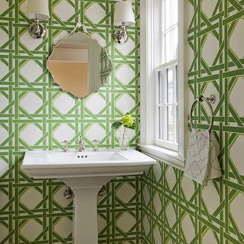 Kate Coughlin Interiors - bathrooms - roof deck powder room, rood deck bathroom, garden lattice, lattice wallpaper, garden lattice wallpaper, white and green lattice wallpaper, white and green garden lattice wallpaper, green lattice wallpaper, green garden lattice wallpaper, frameless mirror, hanging frameless mirror, lugarno sconces, lugarno single sconces, pedestal sink, white pedestal sink, powder room wood floors, powder room hardwood floors, stained oak wood floors,