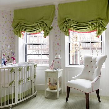 Kate Coughlin Interiors - nurseries - girls nursery design, girls nursery, pink and green wallpaper, nursery wallpaper, pink and green nursery wallpaper, white nursery crib, oval nursery crib, white oval crib, white oval nursery crib, modern cribs, modern nursery crib, nursery mobile, green roman shade, nursery roman shades, nursery window treatments, white nightstand, green carpeting, green nursery carpeting, white tufted chair, nursery chair,