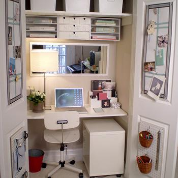 Closet Office, Transitional, den/library/office