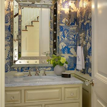 Kate Coughlin Interiors - bathrooms - chinoiserie wallpaper, blue chinoiserie wallpaper, summer palace wallpaper, studded mirror, beveled mirror, studded beveled mirror, beveled studded mirror, cream powder room cabinets, cream cabinets, cream powder room vanity, cream chair rail, powder room chair rail, powder room wainscoting crea, wainscoting, cream wainscoted walls, wainscoting in powder rooms, white carrara marble, white carrara marble countertops, beveled countertops, beveled marble countertops, foyer powder room, powder room in foyer, foyer bathrooms, bathroom in foyer,