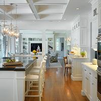 Kate Coughlin Interiors - kitchens - white kitchen, white kitchen cabinets, white shaker cabinets, shaker kitchen cabinets, perimeter countertops, marble countertops, marble perimeter countertops, white marble countertops, coffered ceiling, kitchen coffered ceiling, traditional glass lanterns, kitchen island lanterns, kitchen island lighting, butcher block countertop, wood countertop, butcher block island, butcher block kitchen island, wood kitchen island, wood top kitchen island, prep sink, island prep sink, kitchen island prep sink, white bar stools, traditional bar stools, x back bar stools, white x back bar stools, kitchen desk, kitchen office, desk in kitchen, office in kitchen, built in desk, built in kitchen desk, work space in kitchen, kitchen work space,