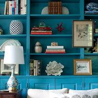 Kate Coughlin Interiors - dens/libraries/offices - built-ins, built-in cabinets, turquoise built-ins, turquoise built in cabinets, turquoise blue built-ins, turquoise blue built in cabinets, turquoise bookshelves, turquoise blue bookshelves, rolled arm sofa, linen sofa, linen rolled arm sofa, antique table, white and turquoise lamp,