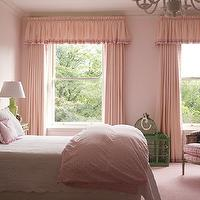 Kate Coughlin Interiors - girl&#039;s rooms - pink girls bedroom, pink walls, pink girls bedroom walls, pink valance, pink curtains, gingham trim, curtains with gingham trim, ruffled valance, ruffled curtains, ruffled drapes, pink ruffled drapes, pink ruffled curtains, ruffle curtains, ruffle drapes, pink ruffle curtains, pink ruffle drapes, ruffle valance, pink ruffle valance, pink upholstered headboard, pink headboard, girls curtains, girls valance, girls window treatments, girls headboard, girls upholstered headboards, girls bedding, scalloped bedding, white scalloped bedding, pink duvet, girls duvet, vintage chair, girls chair, pink upholstered chair, pink chair, bird cage, vintage bird cage, green bird cage,