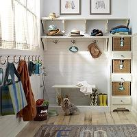BHG - laundry/mud rooms - dog shower, mudroom dog shower, dog shower in mudroom, pet shower, rustic plank floor, mudroom floor, marble dog shower, marble pet shower, wood panels, mudroom panels, mudroom paneling, mudroom wall panels, mudroom wall paneling, mudroom hooks, low hooks, mudroom kids hooks, mudroom childrens hooks, cafe curtains, mudroom cafe curtains, mudroom shelving, mudroom shelves, corbels, shelving corbels, blue walls, blue mudroom walls, mudroom rugs, mudroom baskets, mudroom built ins, mudroom bins, mudroom storage baskets, mudroom storage bins, silhouette tags, basket tags,