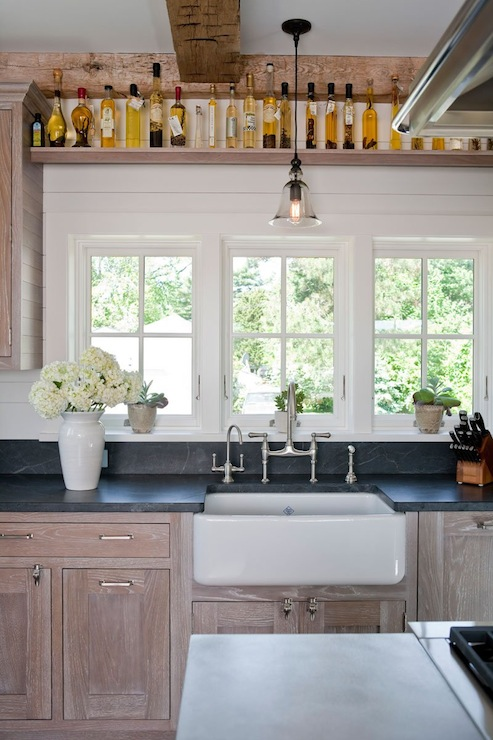 wire brushed oak cabinets country kitchen shelter
