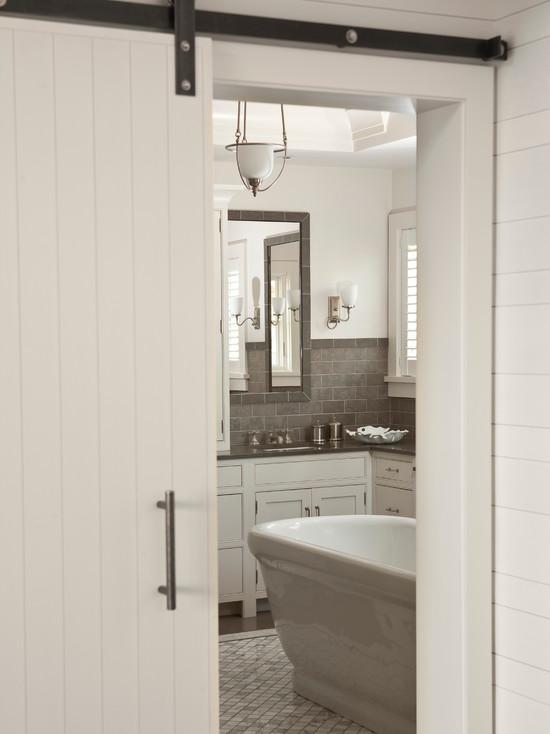 Sliding Barn Door Contemporary Bathroom Shelter