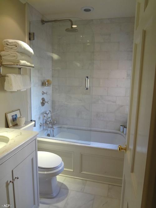 Small bathroom glass shower traditional bathroom for Wood tile tub surround