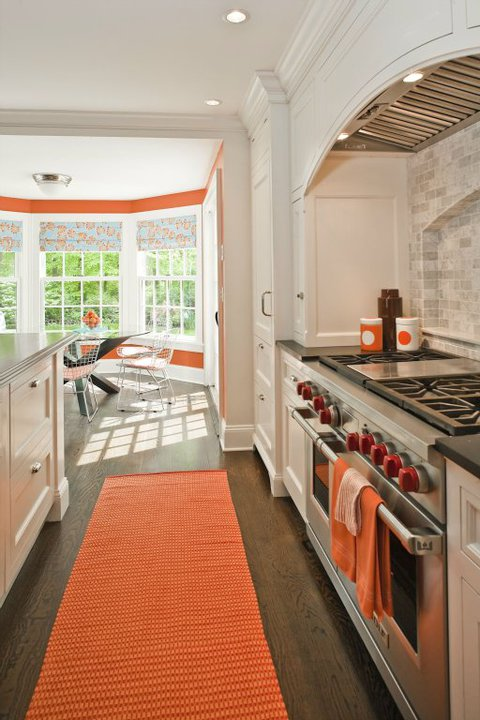 White and orange kitchen contemporary kitchen - Kitchen with orange accents ...