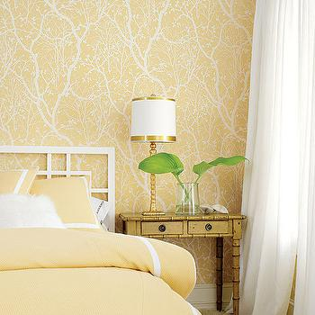 Shelter Interiors LLC - bedrooms - white and yellow wallpaper, yellow wallpaper, white silk curtains, white silk drapes, white headboard, white geometric headboard, yellow bedding, yellow duvet, yellow, shams, white and yellow shams, white and yellow duvet, white and yellow bedding, gold lamp, faux bamboo table, bamboo table, faux bamboo nightstand, faux bamboo table, yellow bedroom,