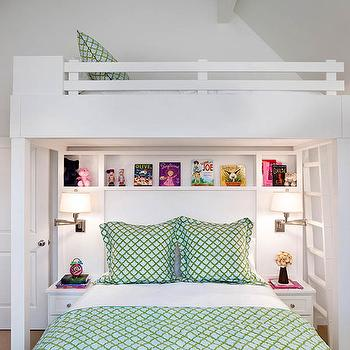 Karen White ID - girl's rooms - bookshelf, custom bunk beds, built-in bunk bed, vaulted ceiling, closet, built-in nightstands, bunk bed cubbies, sisal wool carpet, green bedding, green trellis bedding, white walls, white wall color, vaulted ceiling, adjustable wall sconces, bunk bed ladder, white bunk bed, custom built-in bunk bed, bunk bed shelves, adjustable reading sconces, girls room, bunk room, gender neutral bunk room, crisp white sheets, white sheets, girls bunk beds,
