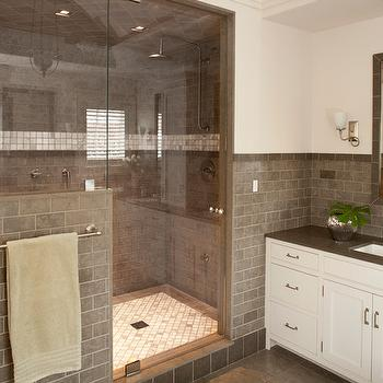 Grey Subway Tile, Contemporary, bathroom, Shelter Interiors LLC