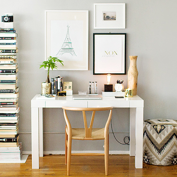 Styled Desk, Contemporary, den/library/office, The Every Girl