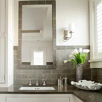 Shelter Interiors LLC - bathrooms - white and gray bathroom, white walls, white bathroom walls, gray tiled floor, gray tile bathroom floor, white bathroom cabinets, gray quartz countertops, gray tiled mirror, gray bathroom mirrors, white bathroom vanity, white bathroom cabinets, grey tiles, grey tile bathroom, grey bathroom tiles, grey backsplash tiles, grey tile backsplash,