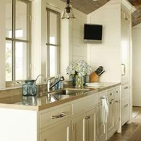 Shelter Interiors LLC - kitchens - plank ceiling, rustic plank ceiling, wood beams, rustic wood beams, kitchen plank ceiling, rustic plank kitchen ceiling, rustic kitchen beams, glass front cabinets, glass front kitchen cabinets, rustic plank floors, plank floors, kitchen plank floors, cream cabinets, cream kitchen cabinets, gold countertops, stone countertops, gold stone countertops, cream paneling, sisal runner, kitchen runner, sisal kitchen runner, cream wall panels, cream wall paneling, kitchen panels, kitchen wall paneling, kitchen tv, tv in kitchen,