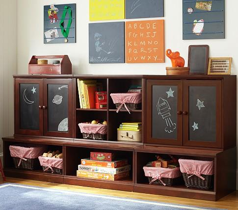 Lower Storage System With Chalkboard Cabinets Pottery