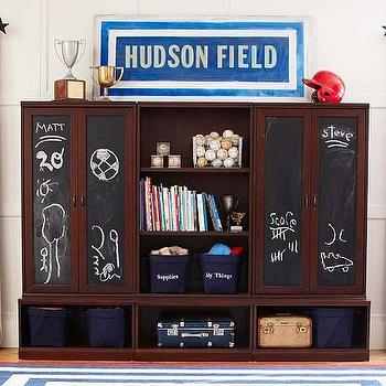 Storage Furniture - Cameron Cabinet Hutch with Chalkboard Set | Pottery Barn Kids - modular storage system, espresso stained kids storage, kids storage system, customizable kids room storage, chalkboard, modular system with chalkboard,