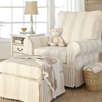 Seating - PB Kids Comfort Swivel Glider & Ottoman | Pottery Barn Kids - slipcovered glider, striped slipcovered glider, slipcovered swivel glider,