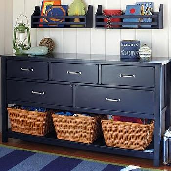 Storage Furniture - Camp Extra-Wide Dresser | Pottery Barn Kids - navy blue dresser, navy blue kids dresser, navy blue dresser with basket storage, dresser with basket storage,