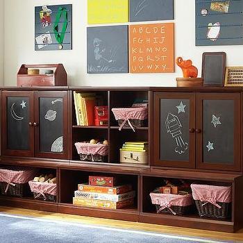 Storage Furniture - Lower Storage System with Chalkboard Cabinets | Pottery Barn Kids - kids storage system, espresso stained storage system, playroom storage, chalkboard fronted cabinets, espresso stained storage system,