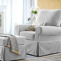 Seating - PB Kids Comfort Swivel Glider & Ottoman | Pottery Barn Kids - gray swivel glider, gray glider with white piping, swivel glider and ottoman, slipcovered swivel glider, slipcovered glider,