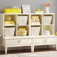 Storage Furniture - 2 Library Base & 2 Cubby System | Pottery Barn Kids - kids storage system, kids room storage, cubby and drawer playroom storage, cubby storage system,