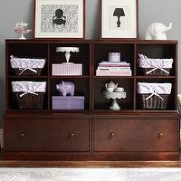 Storage Furniture - 2 Drawer Base & 2 Cubby System | Pottery Barn Kids - kids room storage, espresso stained kids storage, cubby and drawer kids storage, kids room storage system,