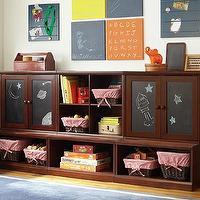 Storage Furniture - Lower Storage System with Chalkboard Cabinets | Pottery Barn Kids - kids storage system, espresso stained storage system, playroom storage, chalkboard fronted cabinets, espresso stained storage system,