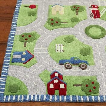 Rugs - Play in the Park Rug | Pottery Barn Kids - road map rug, cars and road rug, road rug,