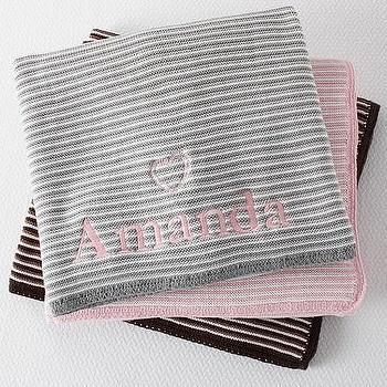 Bedding - Hayden Stroller Blanket | Pottery Barn Kids - monogrammable gray stroller blanket, monogrammed pink stroller blanket, black and white monogrammed stroller blanket,
