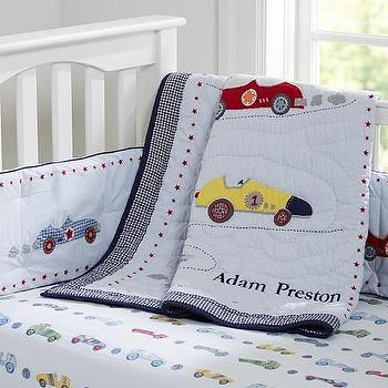 Bedding - Roadster Nursery Bedding | Pottery Barn Kids - car crib bedding, vintage race car bedding, vintage race car crib bedding,