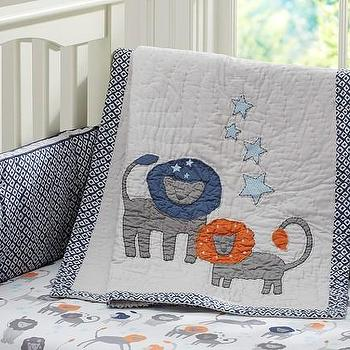 Bedding - Brady Nursery Bedding | Pottery Barn Kids - lion nursery bedding, lion crib bedding, blue gray and orange crib bedding,