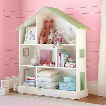 Storage Furniture - Dollhouse Bookcase | Pottery Barn Kids - dollshouse bookcase, dolls house bookcase, doll house bookcase, kids room storage, girls room bookcase,
