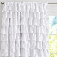 Window Treatments - Ruffle Blackout Panel | Pottery Barn Kids - white ruffle panel, white ruffled drapes, white ruffled curtains, white ruffle window panel,
