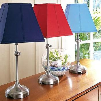 Rugby Stripe Shade Amp Mason Touch Lamp Base Pottery Barn Kids