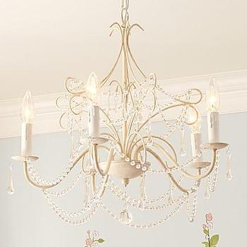 Lighting - Mia Chandelier | Pottery Barn Kids - white vintage chandelier, ornate white chandelier, white beaded crystal chandelier,