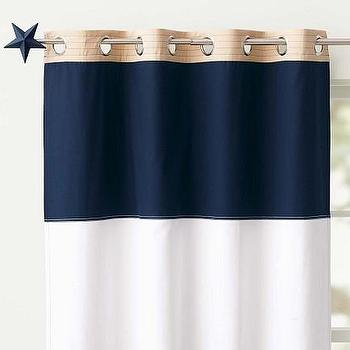 Window Treatments - Rugby Blackout Panel | Pottery Barn Kids - navy and white striped panel, navy and white horizontal striped drapes, navy and white striped drapes, navy and white striped curtains,
