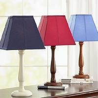 Lighting - Parker Shade & Candlestick Base | Pottery Barn Kids - white table lamp, navy shade, wood table lamp base, red shade, light blue shade,