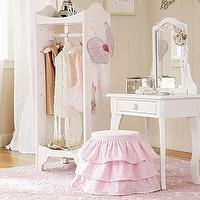 Tables - Claire Vanity and Stool | Pottery Barn Kids - kids vanity and stool, childs play vanity, pink ruffled stool, girls play vanity, white play vanity with mirror,