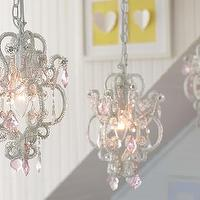 Lighting - Gianna Mini Chandelier | Pottery Barn Kids - pink crystal chandelier, mini crystal chandelier, pink crystal mini chandelier,
